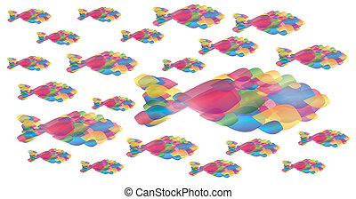 Many fish of colors over white background