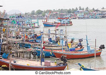 many fishing boat on the sea
