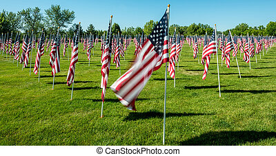Many flags in a pattern for Memorial Day
