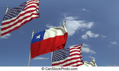 Many flags of Chile and the USA, loopable 3D animation