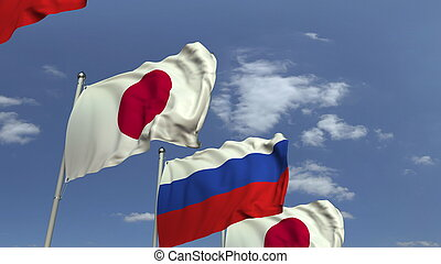 Many flags of Japan and Russia, 3D rendering