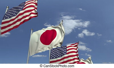 Many flags of Japan and the USA, loopable 3D animation