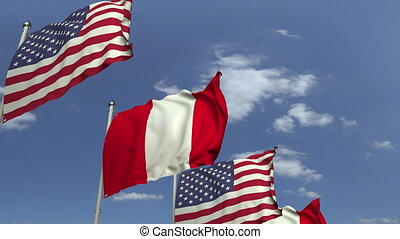 Many flags of Peru and the USA, loopable 3D animation