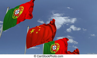Many flags of Portugal and China, 3D rendering