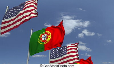 Many flags of Portugal and the USA, loopable 3D animation