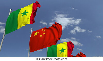 Many flags of Senegal and China, 3D rendering