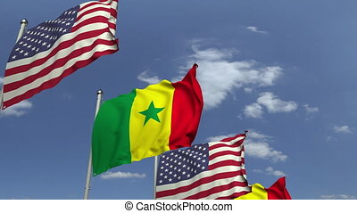 Many flags of Senegal and the USA, loopable 3D animation