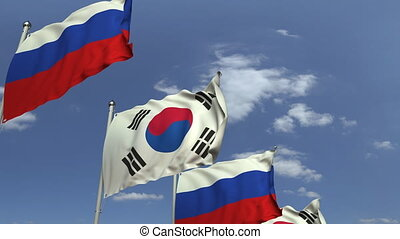 Many flags of South Korea and Russia, loopable 3D animation...