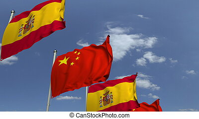 Many flags of Spain and China, 3D rendering