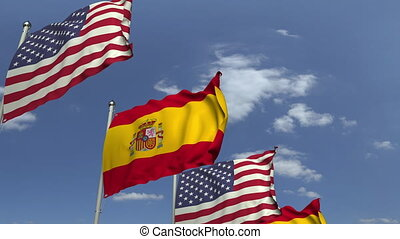 Many flags of Spain and the USA, loopable 3D animation