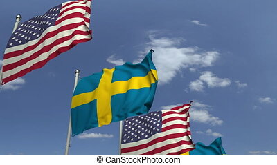 Many flags of Sweden and the USA, loopable 3D animation
