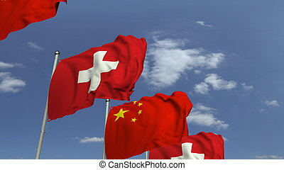 Many flags of Switzerland and China, 3D rendering