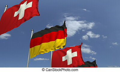 Many flags of Switzerland and Germany, 3D rendering
