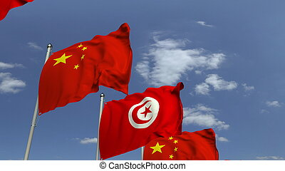 Many flags of Tunisia and China, 3D rendering