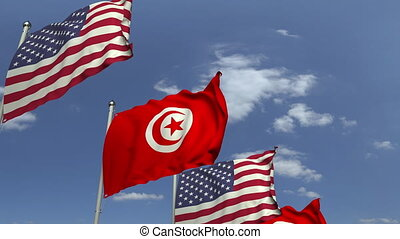 Many flags of Tunisia and the USA, loopable 3D animation