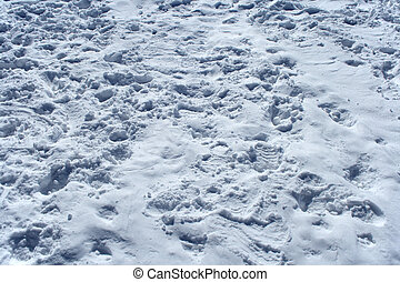 Many footprints in the snow