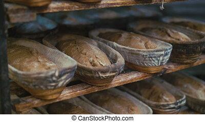 Many fresh loafs of rye bread 4K