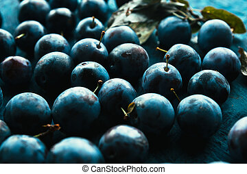 many fresh plums on blue background close up.