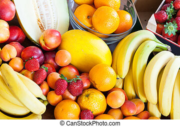 Many fruits at table