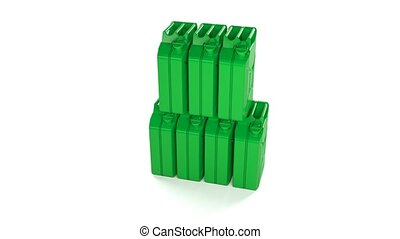 Many fuel canisters, gasoline, diesel or oil. 11 - Many fuel...