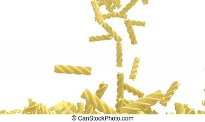 many fusilli pasta fall on white background, 3d animation