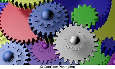 Many gears in different colors
