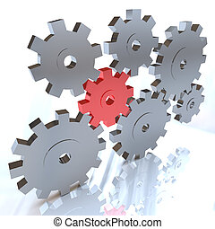 Many Gears Turning Together, One in Red - Many gears working...