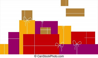 Many gift boxes in flat design, art video illustration.