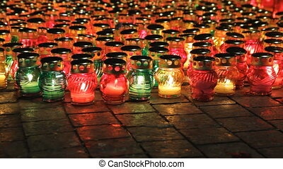 Many glass candles