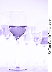Many glasses of rose wine at wine tasting. Concept of rose wine and variety. Ultra violet tone, color of the year 2018