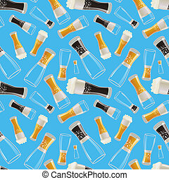 Many glasses with different soda on blue background, seamless pattern