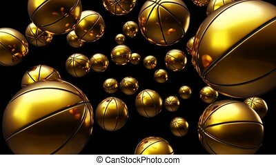 Many gold basketball balls on black background. Loop able 3d animation for background.