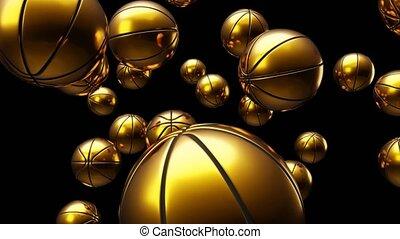 Many gold basketball balls on black background.