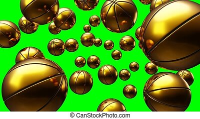 Many gold basketball balls on green chroma key. Loop able 3d animation for background.