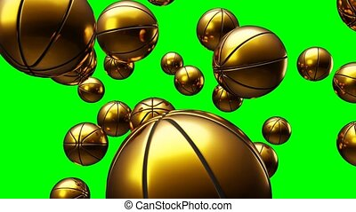 Many gold basketball balls on green chroma key. Abstract 3d animation for background.