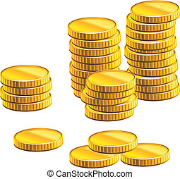 Many gold coins isolated on white background for business and economic concepts design