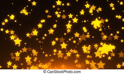 Many gold glittering stars are in space, holiday 3d render background, golden explosion of confetti