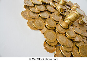 many golden coins background