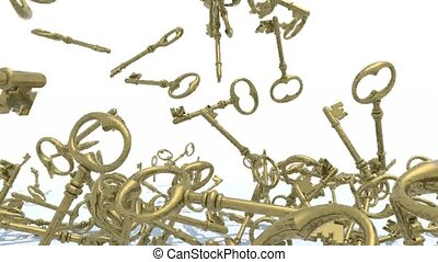 many golden keys fall on background - many golden keys fall...