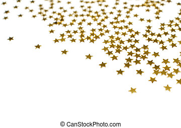 Many golden stars, isolated on white background