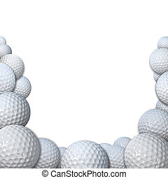 Many Golfballs as Golf Sports Border copy space - Many 3D...