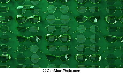 Many green glasses. Loop able 3DCG render animation.