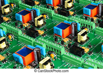Many green PCB microcircuit board