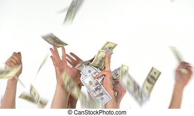 Many hands catch falling US dollars - Many hands catching...