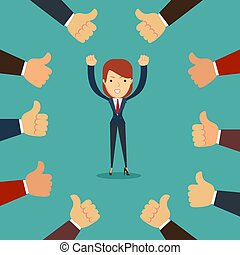 Many hands congratulate a winner with thumbs up sign