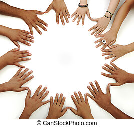 Many hands on white background