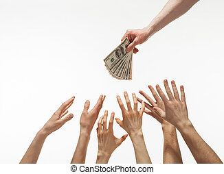 Many hands reaching out for money