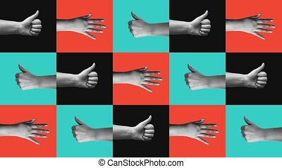 """""""Many hands showing optimistic gestures"""" - """"Cheerful 3d ..."""