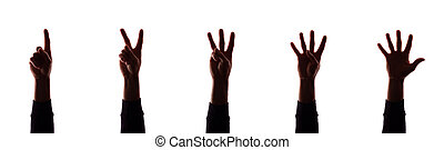 Many hand's young man with fingers apart, numbers - silhouette, concept