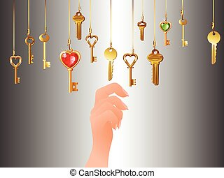 Lots of hanging keys and hand, vector art illustration.